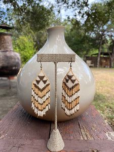 Coachella Tribal Bead Earrings - Gold/White