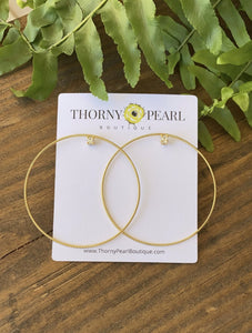Gold Jeweled Hoops