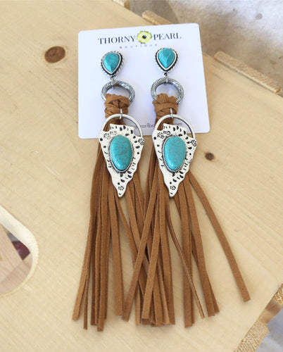 Xotchil Boho Fringe Arrowhead Earrings