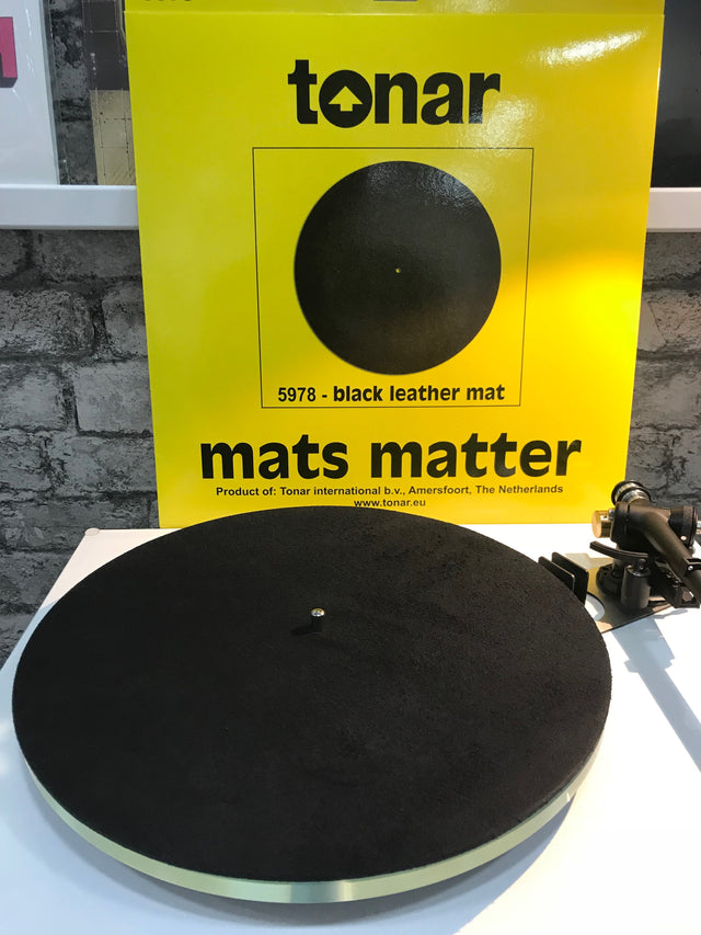 Tonar Black Natural Leather Turntable Mat
