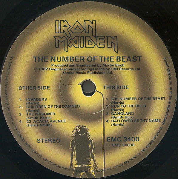 "Iron Maiden Number Of The Beast 1x 12"" LP Vinyl cara B"