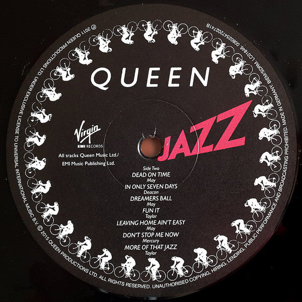 "Queen Jazz Vinyl 2x 12"" LP record label"