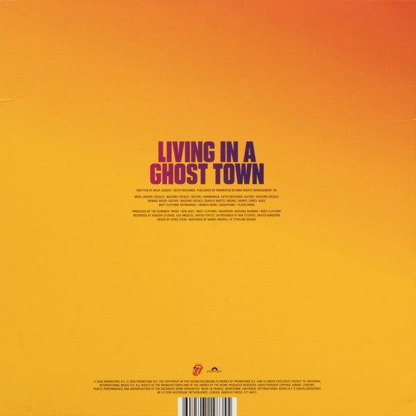 "Rolling Stones Living In A Ghost Town 10"" 45rpm Single Sided Single 2020 Transparent Orange Vinyl Limited Edition"