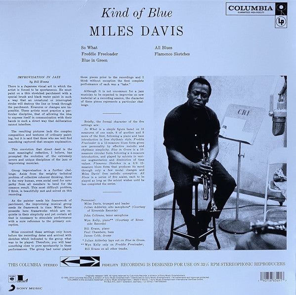 "Miles Davis Kind Of Blue Limited Edition Marbled Blue Vinyl 1x 12"" LP 2018 reissue"