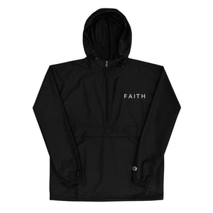 Faith Embroidered Champion Packable Jacket - GOD FIRST ATTIRE