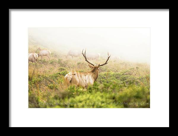 The LORD loves righteousness and justice, the earth is full of his unfailing love. Psalm 33 5 - Framed Print - GOD FIRST ATTIRE
