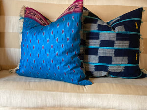 Blue Vintage Mud Cloth Pillows