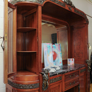 French Art Nouveau Cherry and Marble Bar