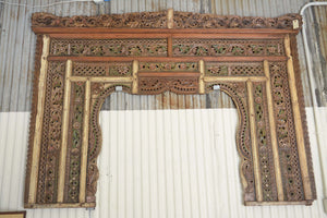 Ornate Balinese King Size Hand-Carved Sculptural Headboard - #1