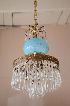 Gold & Crystal Midcentury Chandelier