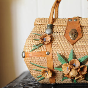 Vintage Wicker & Flower Purse