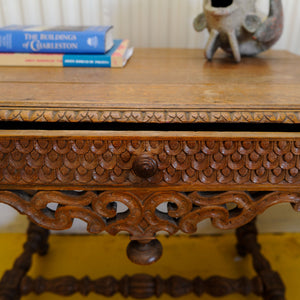 English Oak Carved Occasional Table 1850