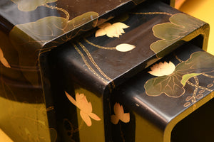 Black Lacquered Chinoiserie Nesting Tables
