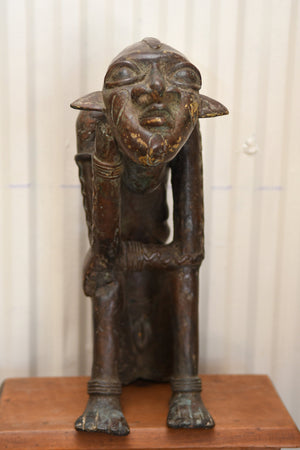 African Bronze statue of the King of Banbara - Mali