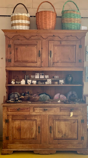 Antique Heart Pine China Cabinet & Hutch