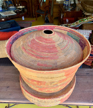 Vintage Straw African Basket with Lid