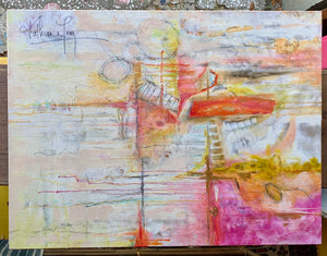 Pink and Yellow Abstract Painting by Katherine Long