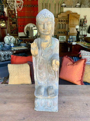 Antique Hand-Carved Stone Quan Yin from Tibet