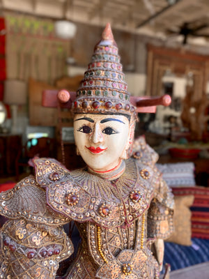 Antique Thai Indonesia Burmese Hand Made Marionette String Puppet