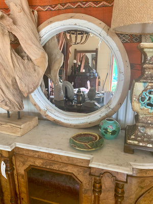 Rustic Wood Round Mirror