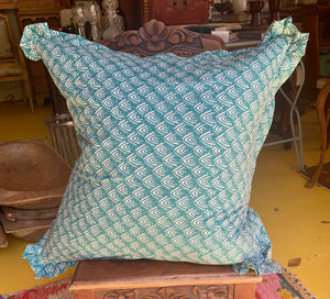 Large Turquoise Print Down Pillow (Pair)