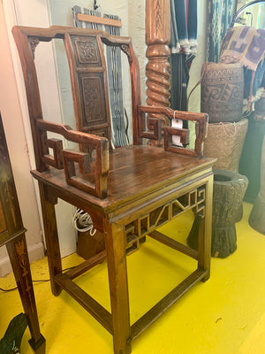 Imperial Style Teak Armchair with Intricate Carving