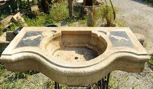 Old Hand-Carved Stone Indian Sink with Inlay