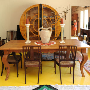 Long Leaf Pine Table with Cabriole Legs 1800's