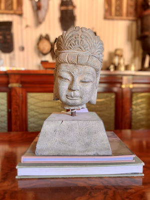 Antique Hand-Carved Stone Buddha Head on stand from Tibet