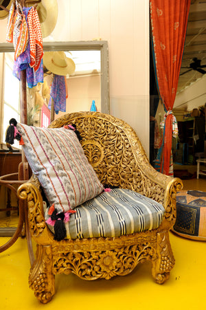 Hand-Carved Gilded Wooden Chair