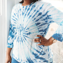 Load image into Gallery viewer, Blue & Navy Spiral Tie-Dye Raglan
