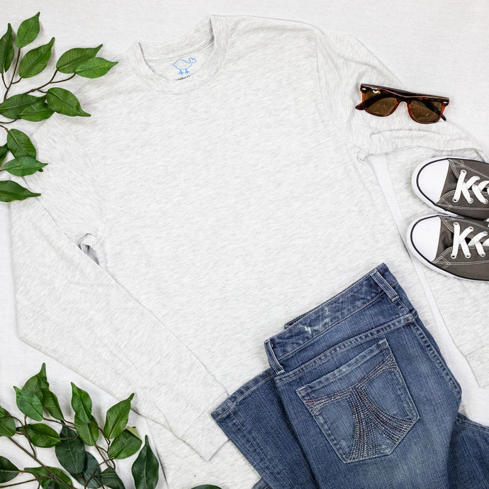 Heather White Long-Sleeve Tee Shirt