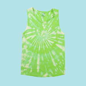 Bleach-Dyed Lime Tank