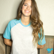 Load image into Gallery viewer, Tahiti Blue Short Sleeve Raglan