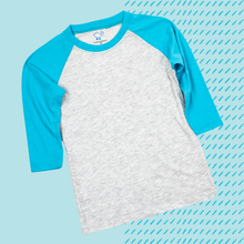 Load image into Gallery viewer, Tahiti Blue Youth Raglan