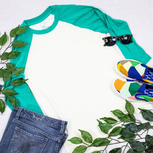 Teal & Cream 3/4 Sleeve Raglan