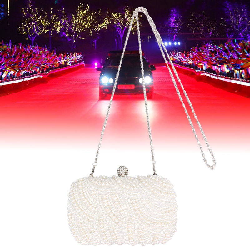 Oval Shaped Pearl Beaded Handbag Women White Clutch Bag Elegant Long