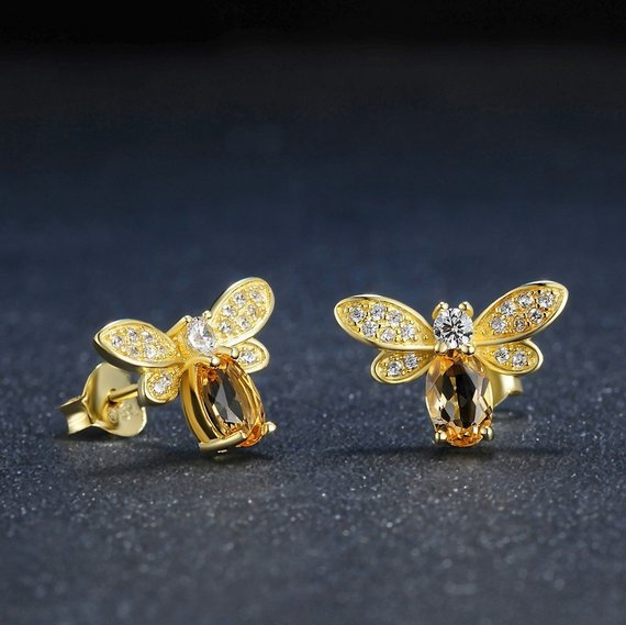 Gem and Crystal Bee Earring Studs