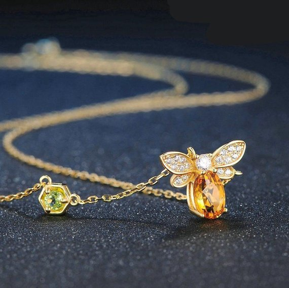 Gold Coloured Necklace with Bee Pendant