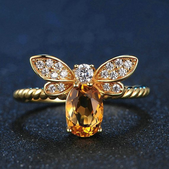 Gem and Crystal Bee Ring