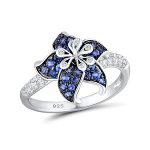 BLUE BLOOMING FLOWER SILVER RING