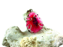 Load image into Gallery viewer, Pink Druzy Pendant - Agatized Earth