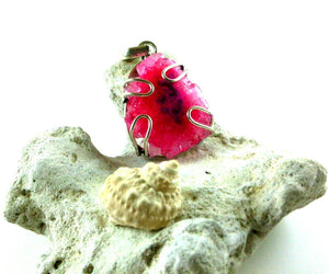 Pink Druzy Pendant - Agatized Earth