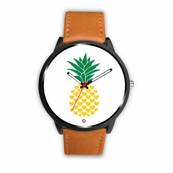 Pineapple's Yellow Heart Watch wc-fulfillment Mens 40mm Brown