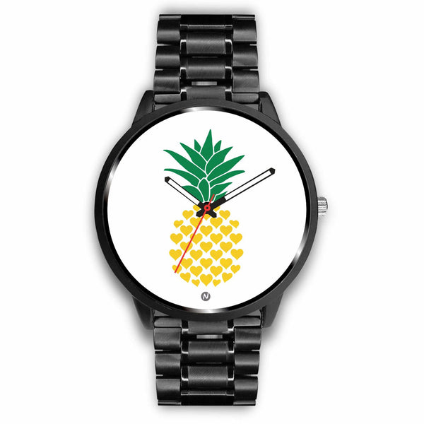 Pineapple's Yellow Heart Watch wc-fulfillment Mens 40mm Metal Link