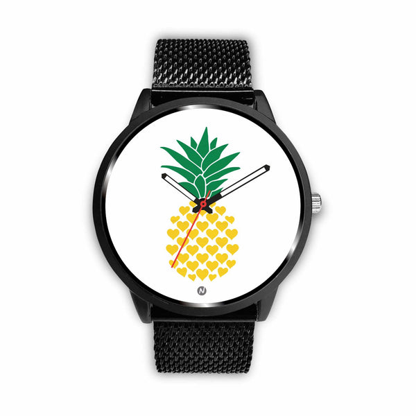 Pineapple's Yellow Heart Watch wc-fulfillment Mens 40mm Metal Mesh