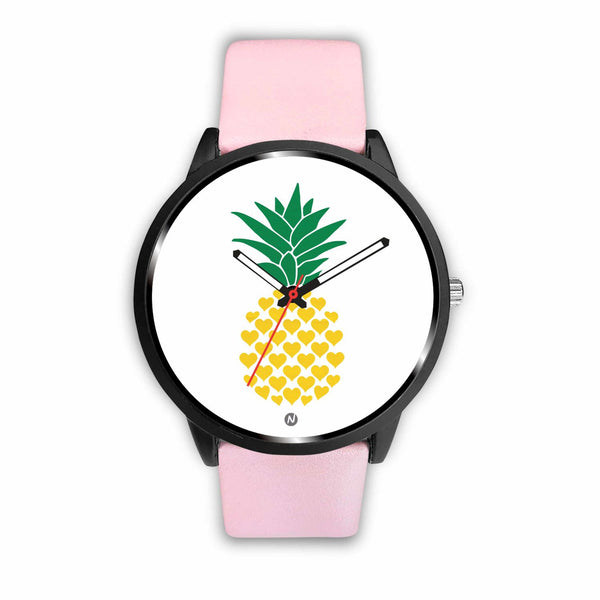 Pineapple's Yellow Heart Watch wc-fulfillment Mens 40mm Pink