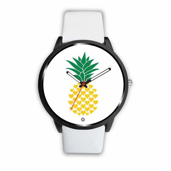 Pineapple's Yellow Heart Watch wc-fulfillment Mens 40mm White