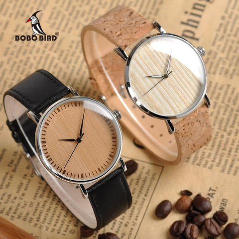 unisex wooden Dial with Leather Strap Watch Neram