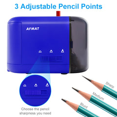 Electric Pencil Sharpener for Colored Pencils (6-8mm) with Adapter Dark Blue-PS71
